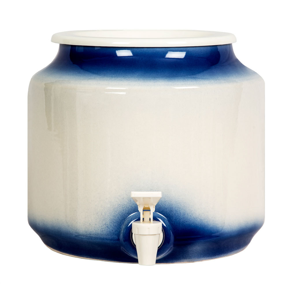 White & Blue Ceramic Well
